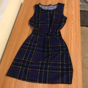 Blue plain cute mini dress